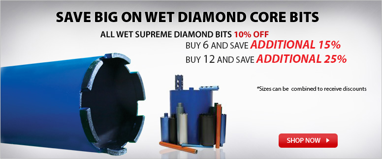 Save Big on Wet Diamond Core Bits - All Wet Supreme Diamond Bits 10% Off
