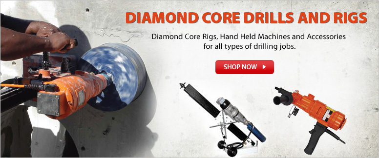 Diamond Core Rigs, Hand Held Machines and Accessories for all types of drilling jobs.